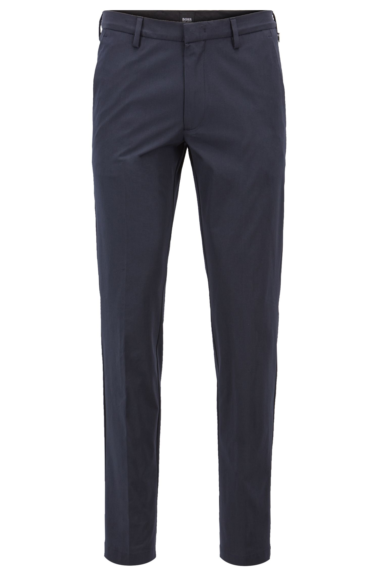 Slim-fit chinos in Italian stretch cotton with zippered pockets, Dark Blue