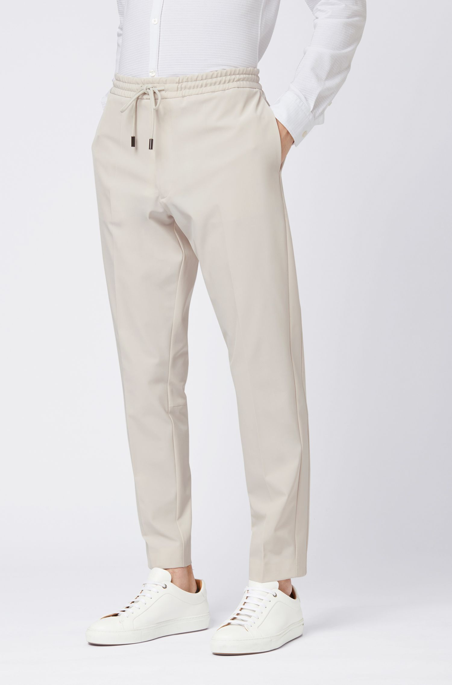 Relaxed-fit pants in stretch gabardine with tape details, Natural