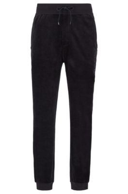 Cuffed-hem loungewear pants in cotton-blend velour, Black