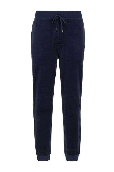 Cuffed-hem loungewear pants in cotton-blend velour, Dark Blue