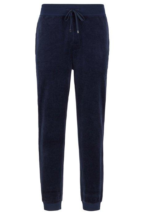 Cuffed-hem loungewear pants in cotton-blend velour, Dark Blue