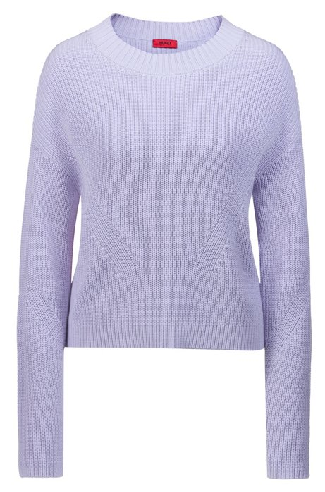 Relaxed-fit cropped sweater with contrast side-seam tape, Purple