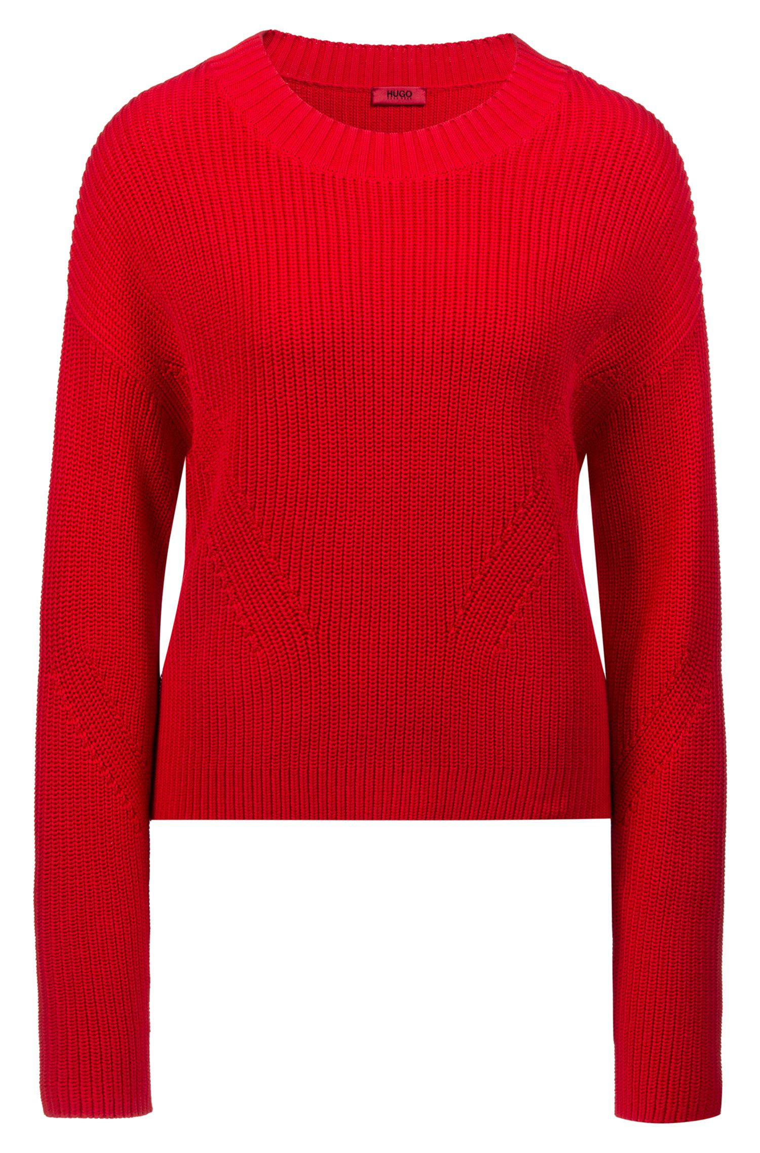 Relaxed-fit cropped sweater with contrast side-seam tape, Open Pink