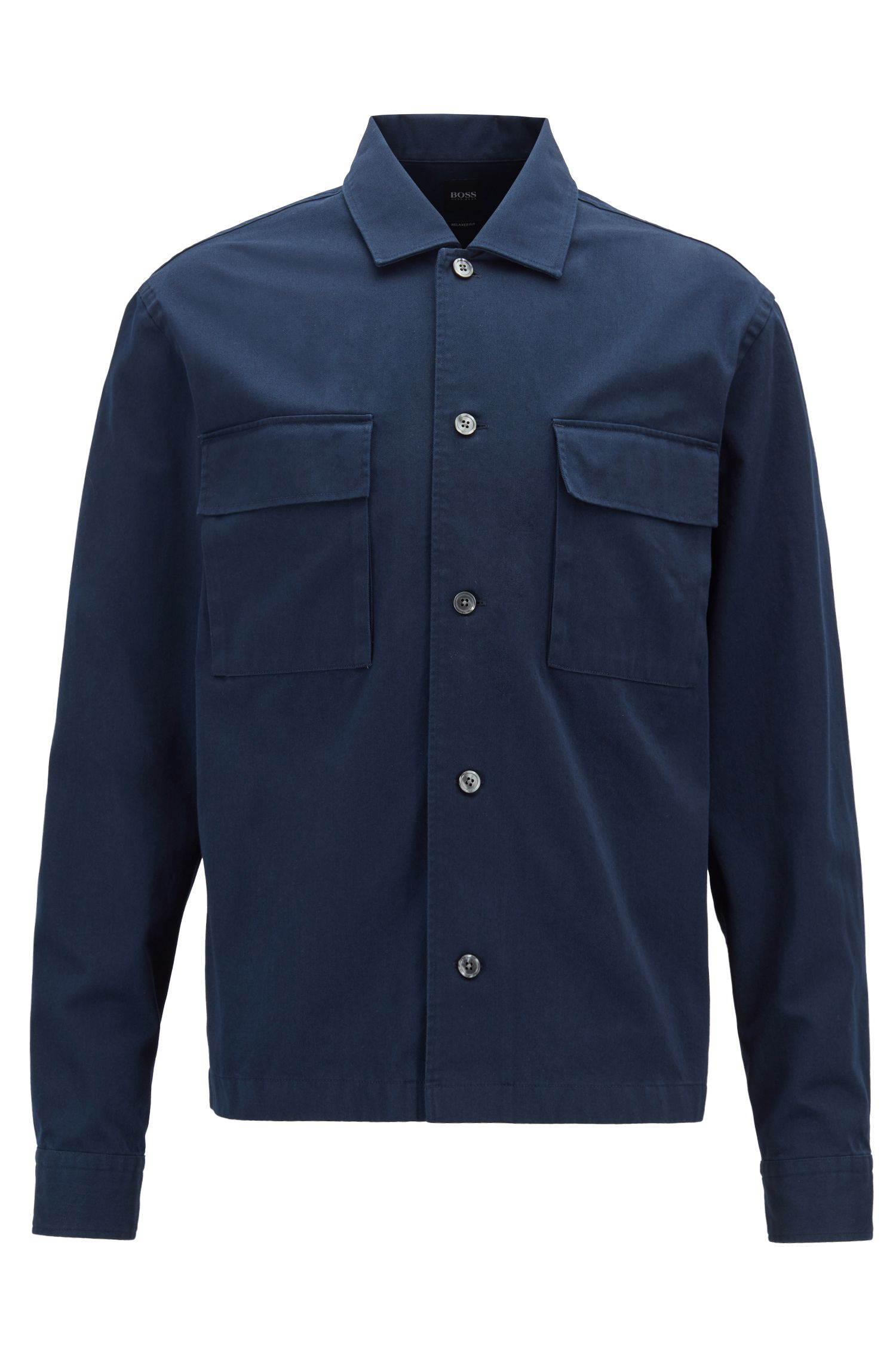 Relaxed-fit shirt in heavy cotton twill, Open Blue
