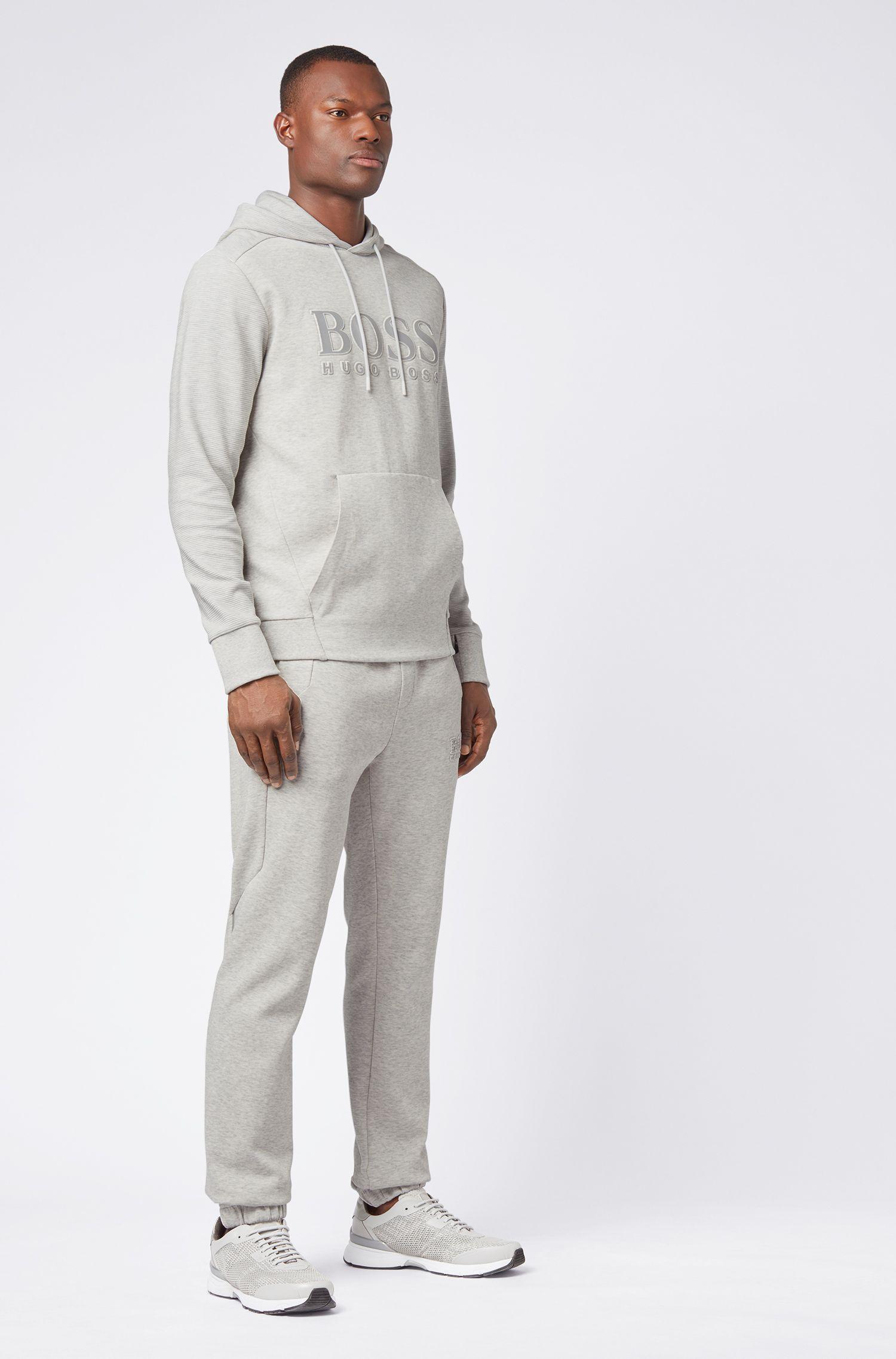 Hooded logo sweatshirt with zippered cuff pocket, Light Grey