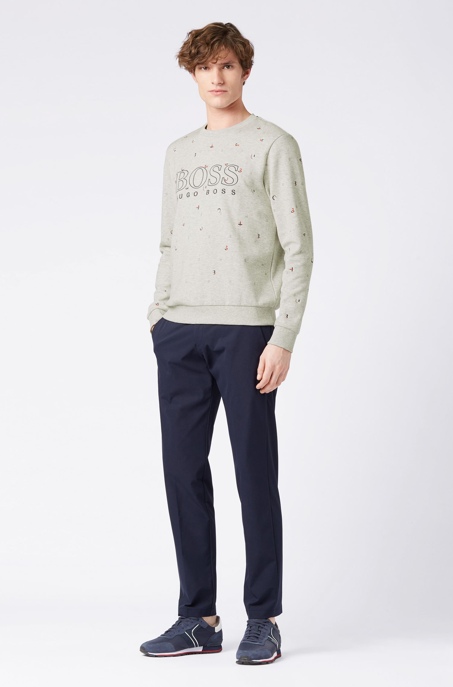 Regular-fit sweatshirt with scattered logo embroidery, Light Grey