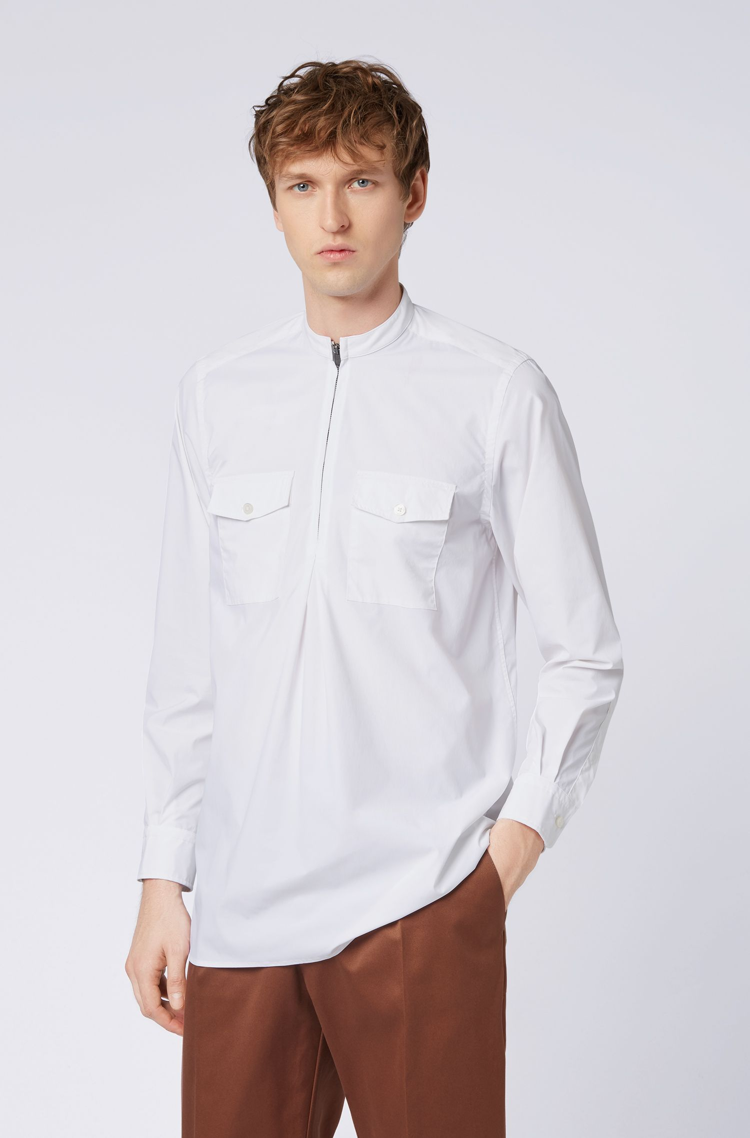Relaxed-fit shirt with zippered half placket, White