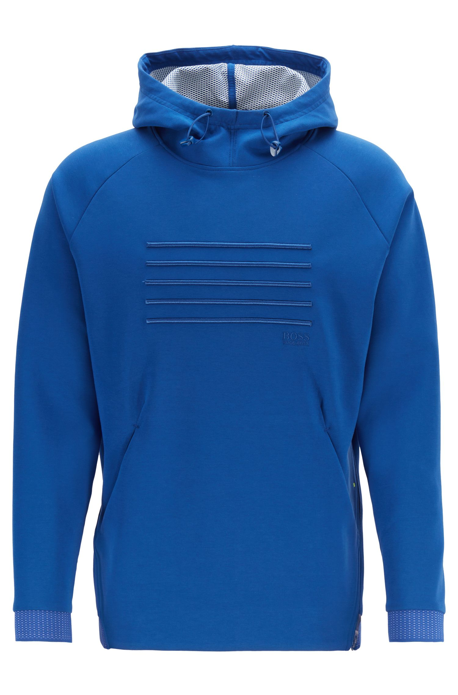Relaxed-fit hooded sweatshirt with zipper detail, Open Blue