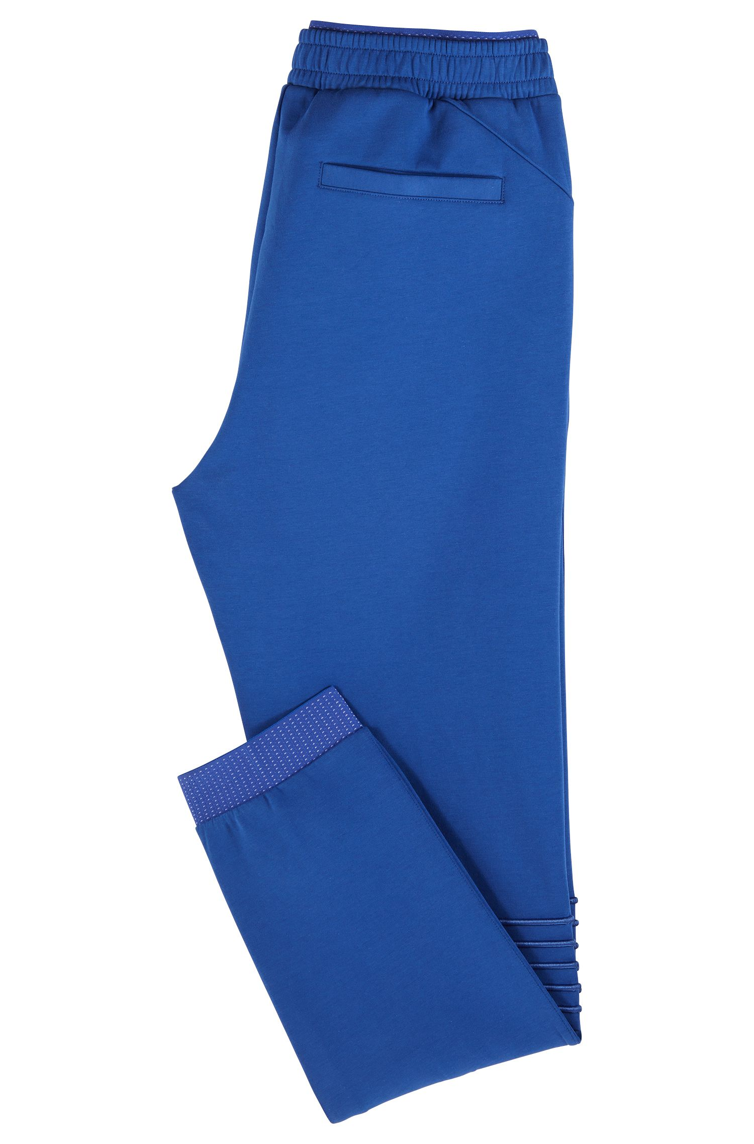 Regular-fit jersey pants with stripe embroidery, Open Blue