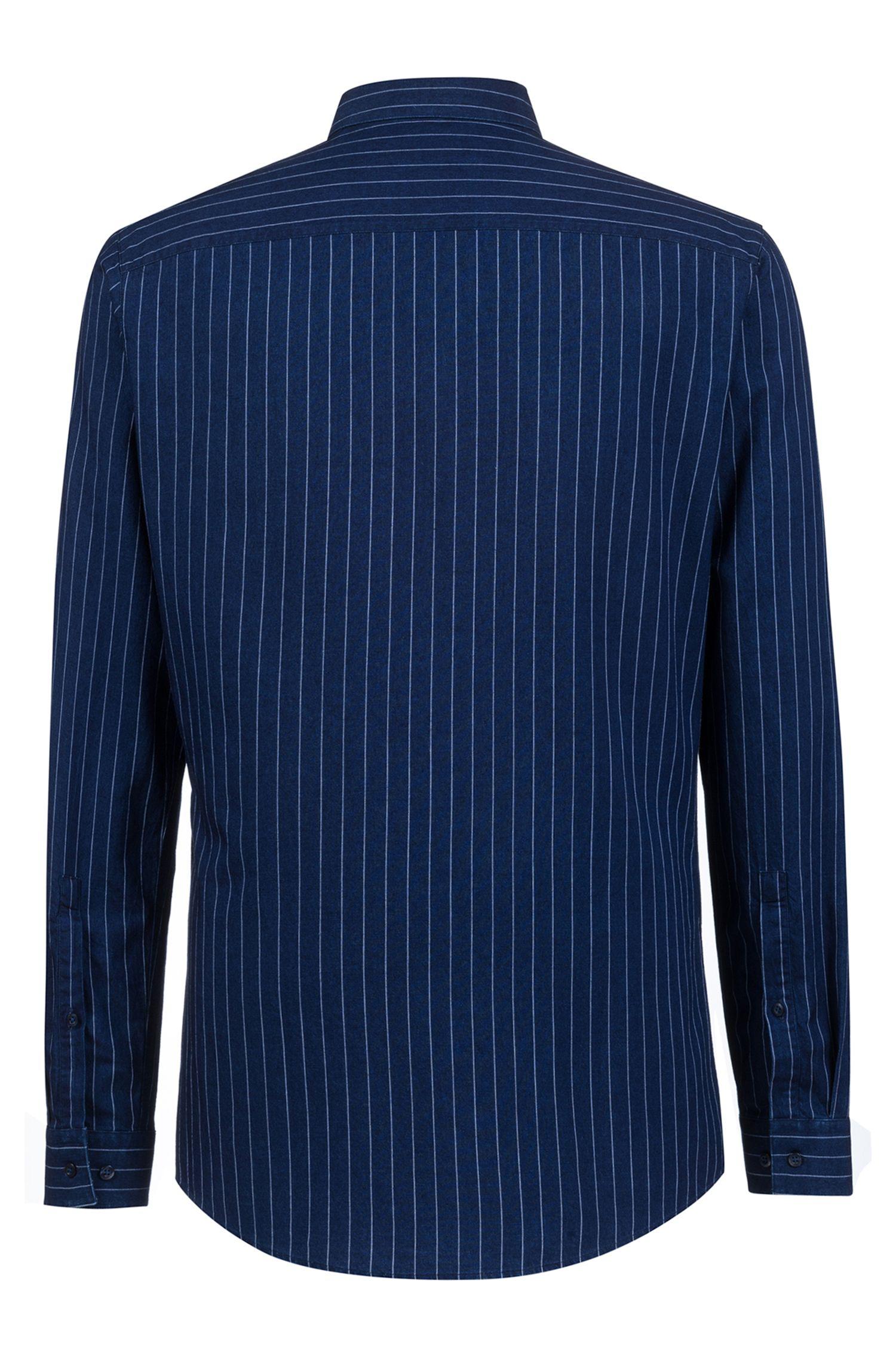 Extra-slim-fit shirt in Italian denim with pinstripes, Dark Blue