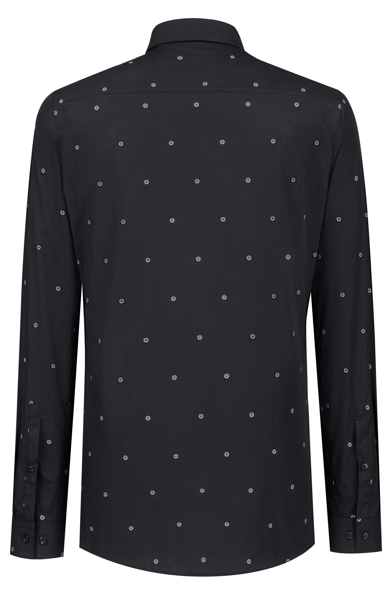 Extra-slim-fit shirt in cotton jacquard, Black