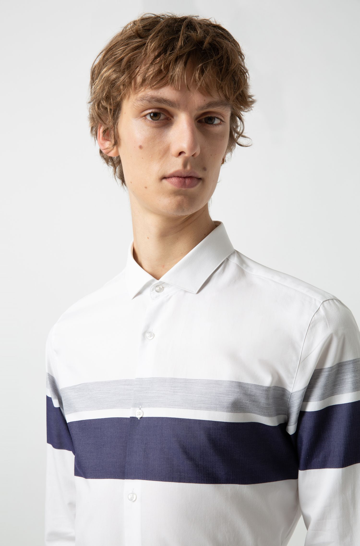 Extra-slim-fit shirt with color-block stripes, Open White