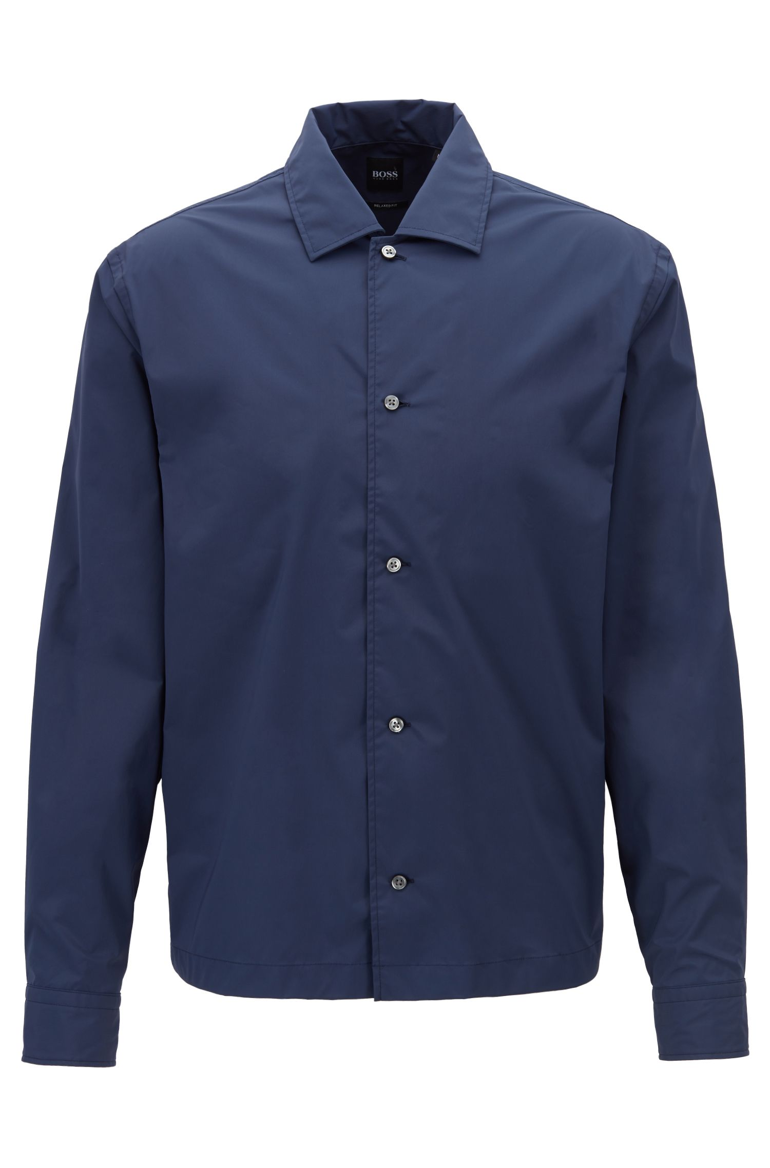 Relaxed-fit shirt in stretch fabric with camp collar, Open Blue