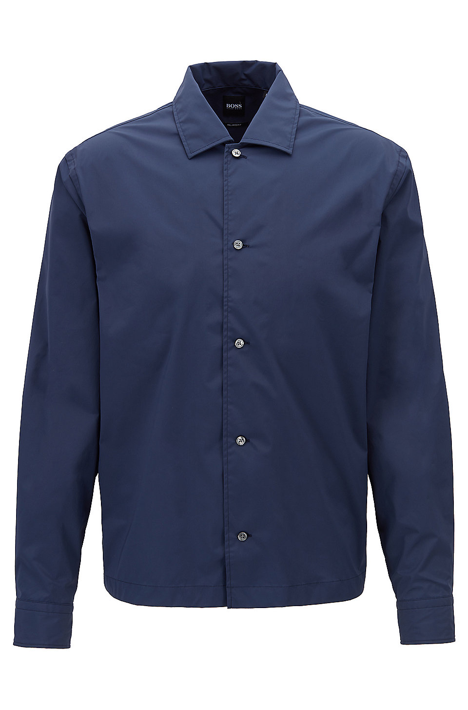 Boss Relaxed Fit Shirt In Stretch Fabric With Camp Collar