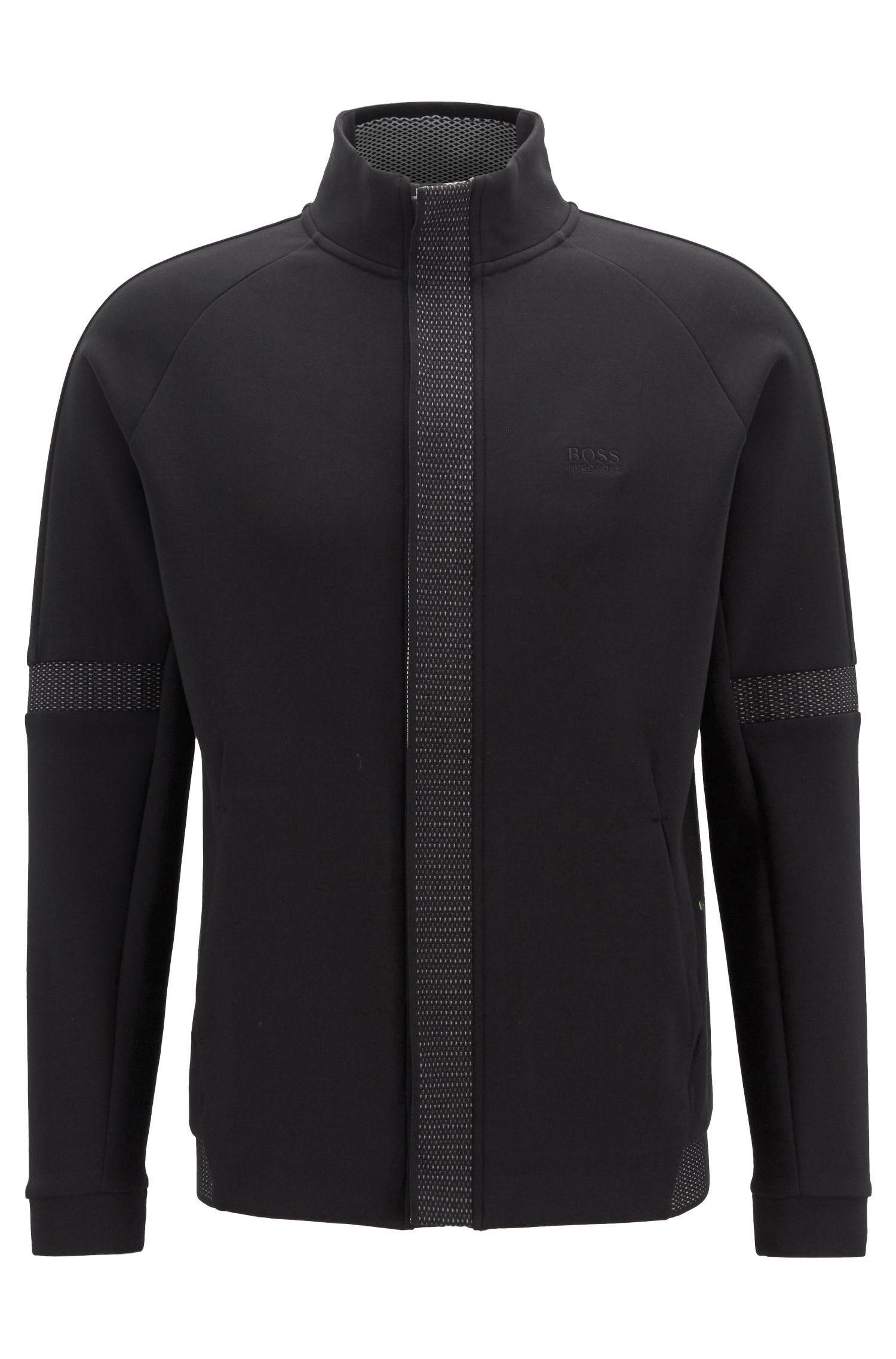 Zipper-front sweatshirt in stretch fabric with tape trims, Black