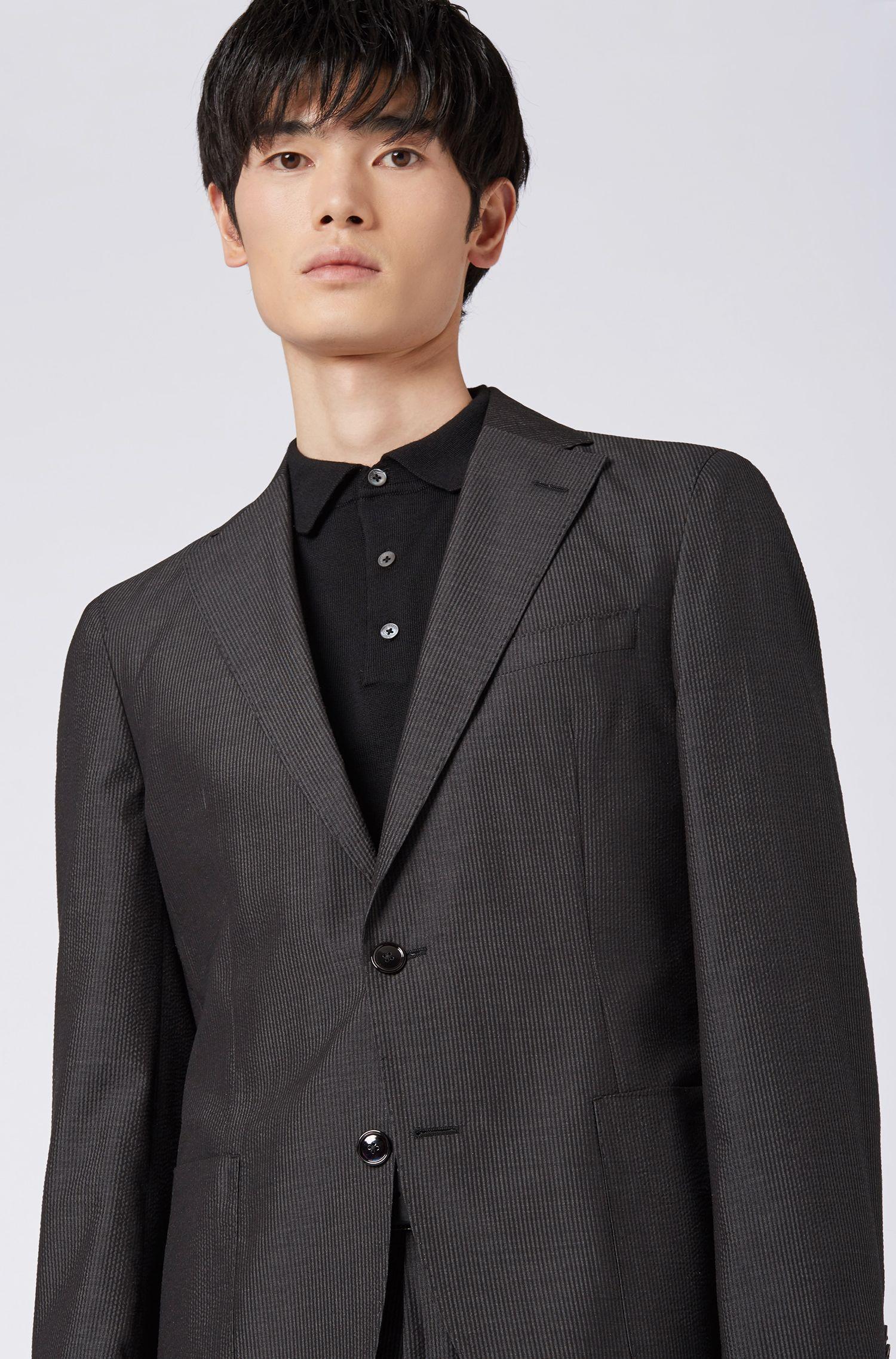 Slim-fit suit in striped silk seersucker, Grey