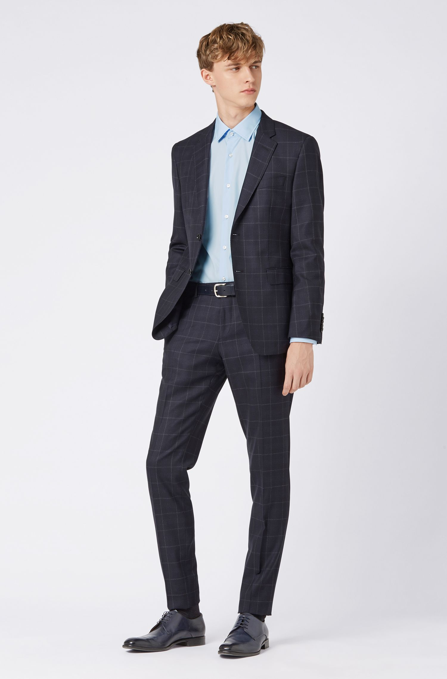 Slim-fit shirt in easy-iron poplin with contrast details, Light Blue
