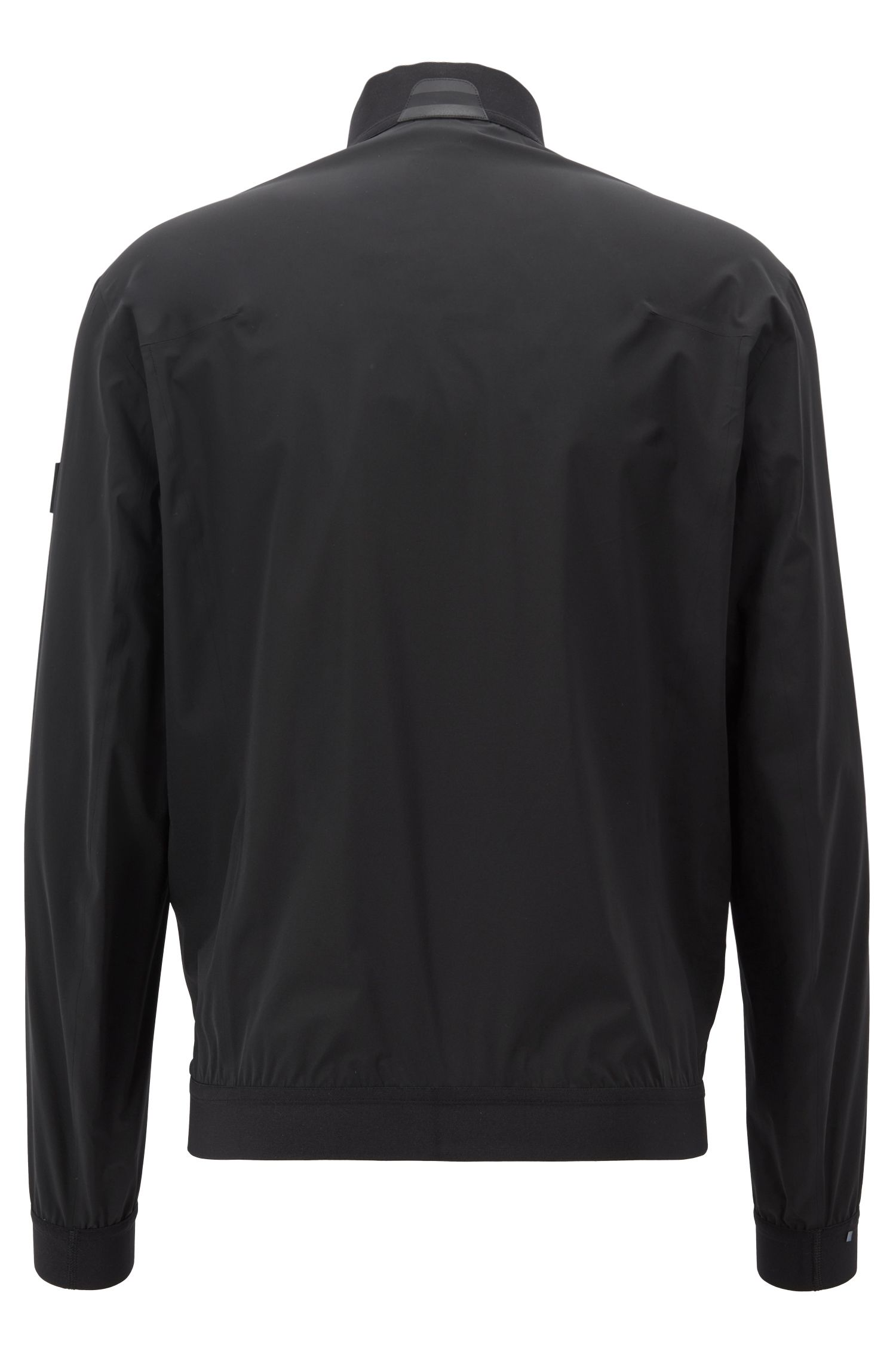 Packable bomber jacket in water-repellent stretch fabric, Black