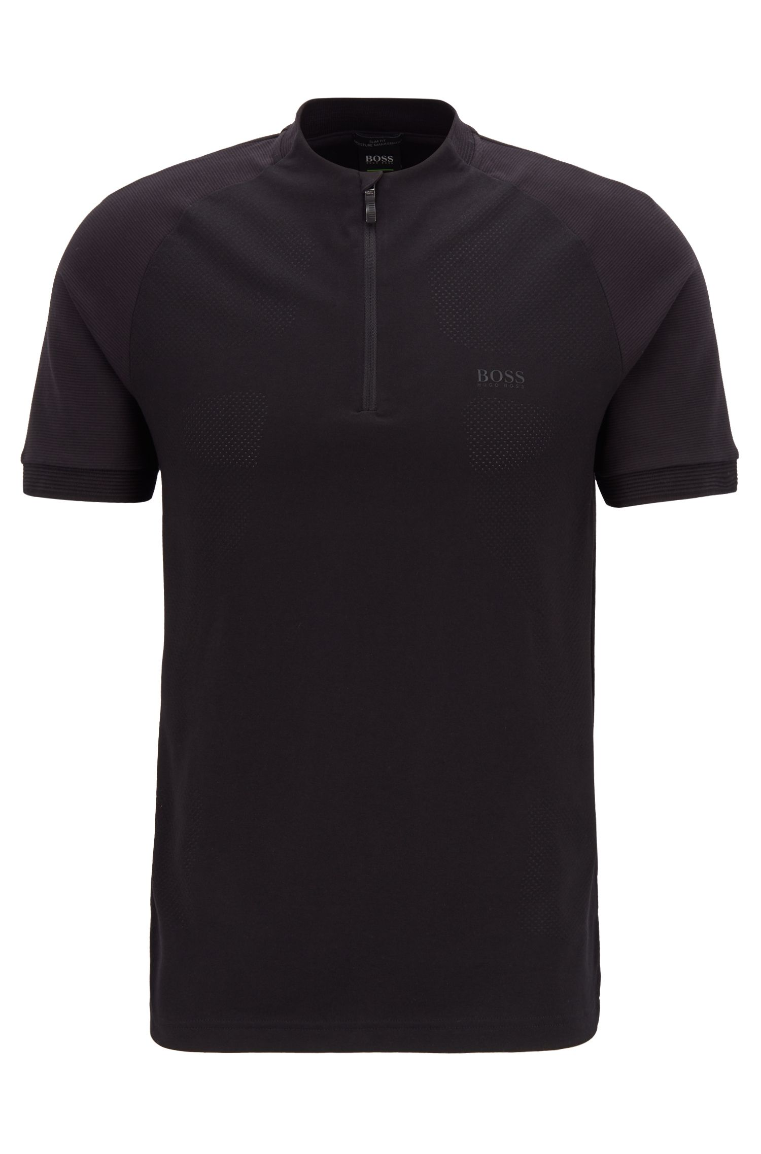 Slim-fit zipper-neck polo shirt with S.Café®, Black
