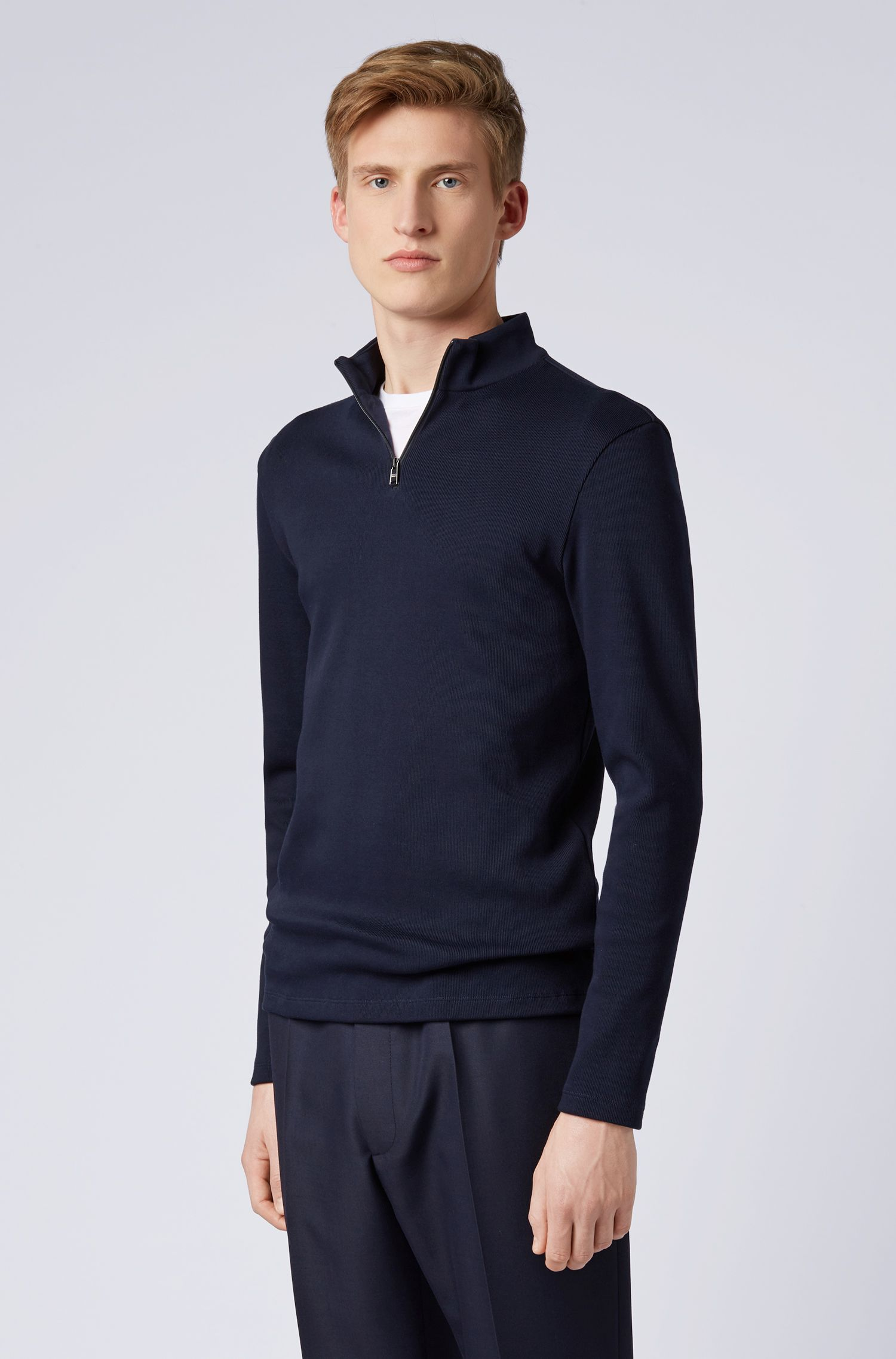 Slim-fit ribbed T-shirt with long sleeves and zip neck, Dark Blue