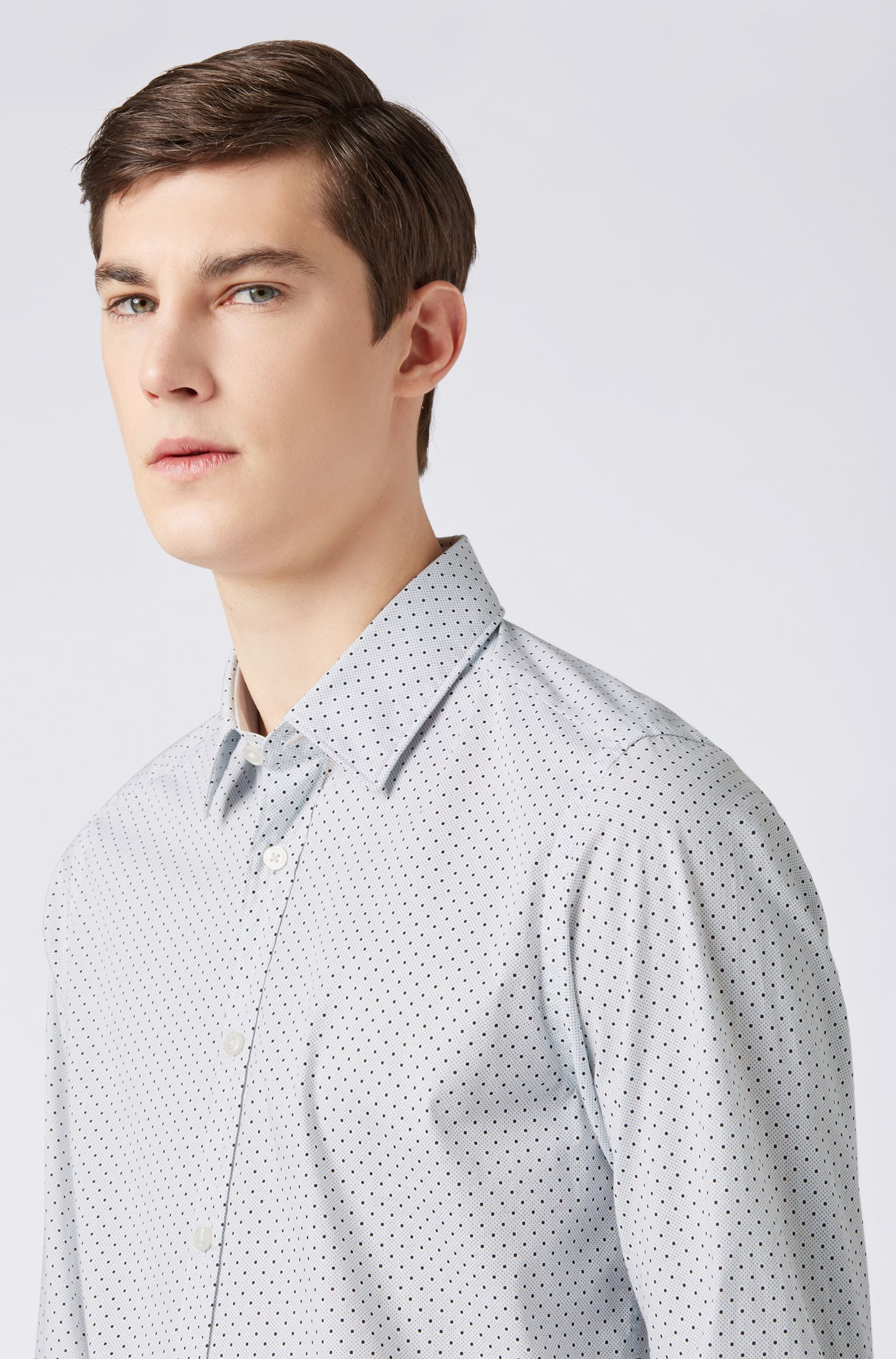 Regular-fit shirt in polka-dot-print stretch cotton, Open Green