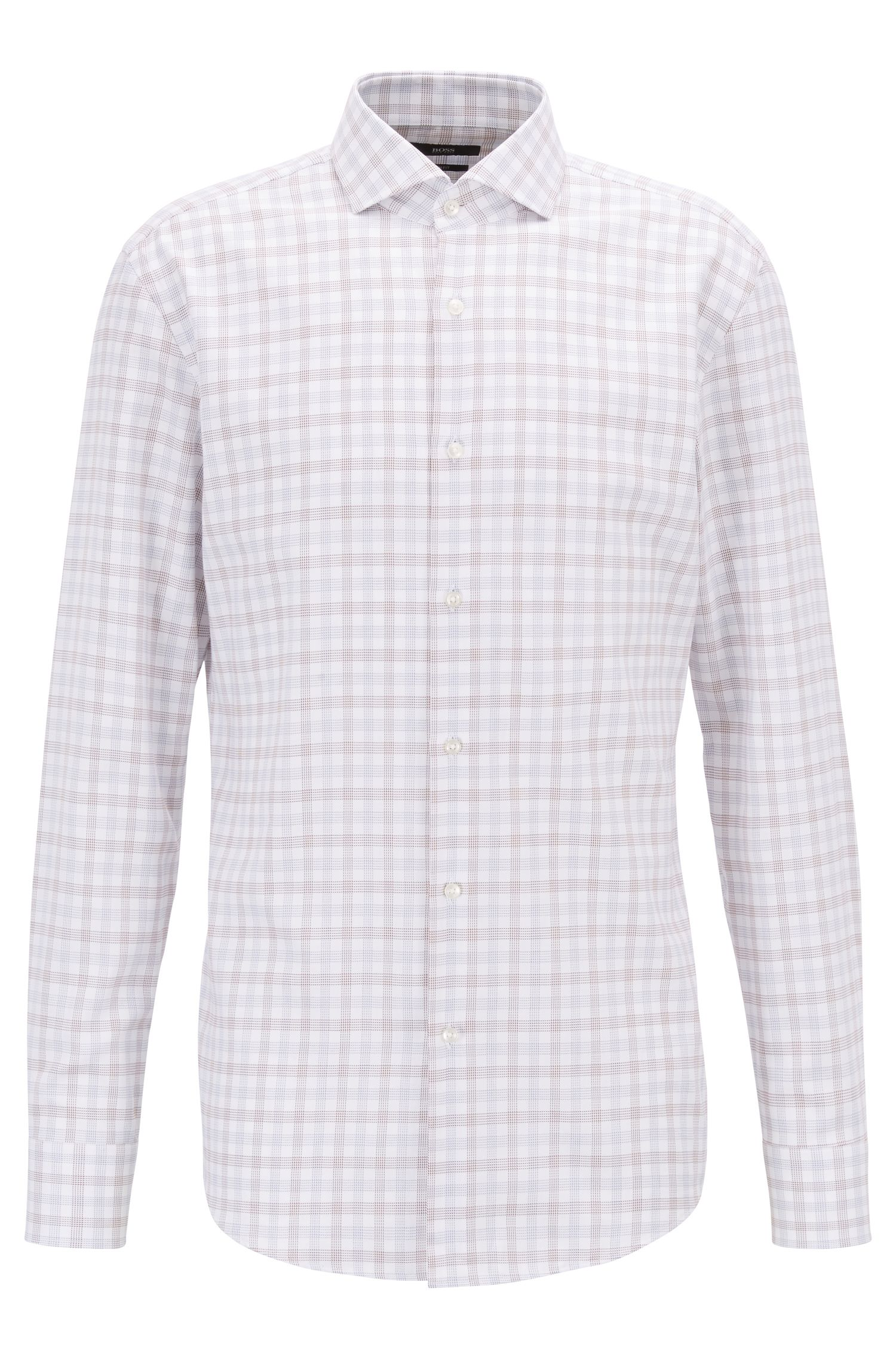 Slim-fit shirt in Vichy-checked cotton twill, Brown