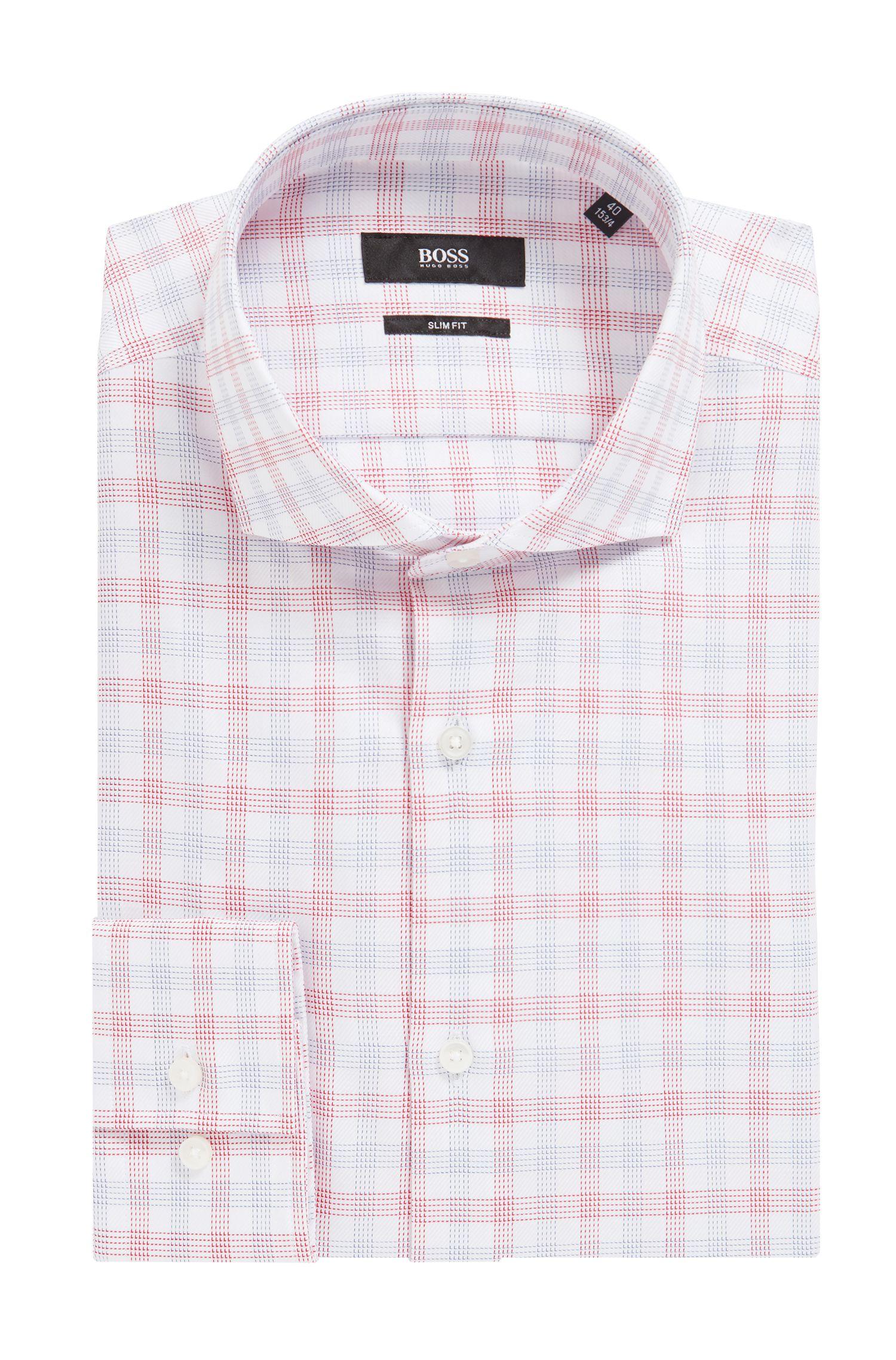 Slim-fit shirt in Vichy-checked cotton twill, Dark pink