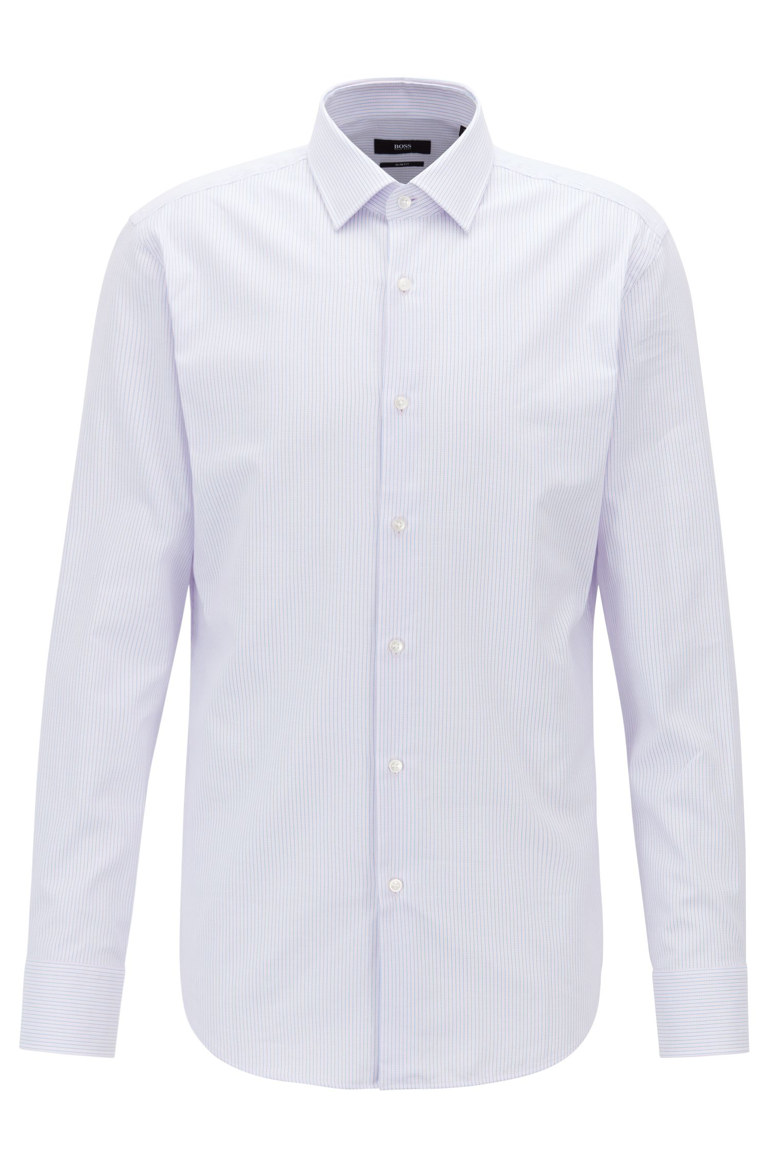 Slim-fit shirt in two-colored cotton dobby, light pink