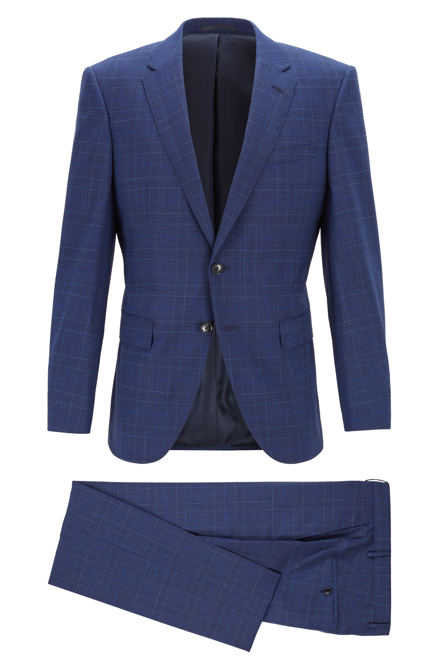 Slim-fit suit in stretch virgin wool, Dark Blue