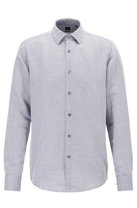 Regular-fit shirt in dobby linen and cotton, Grey