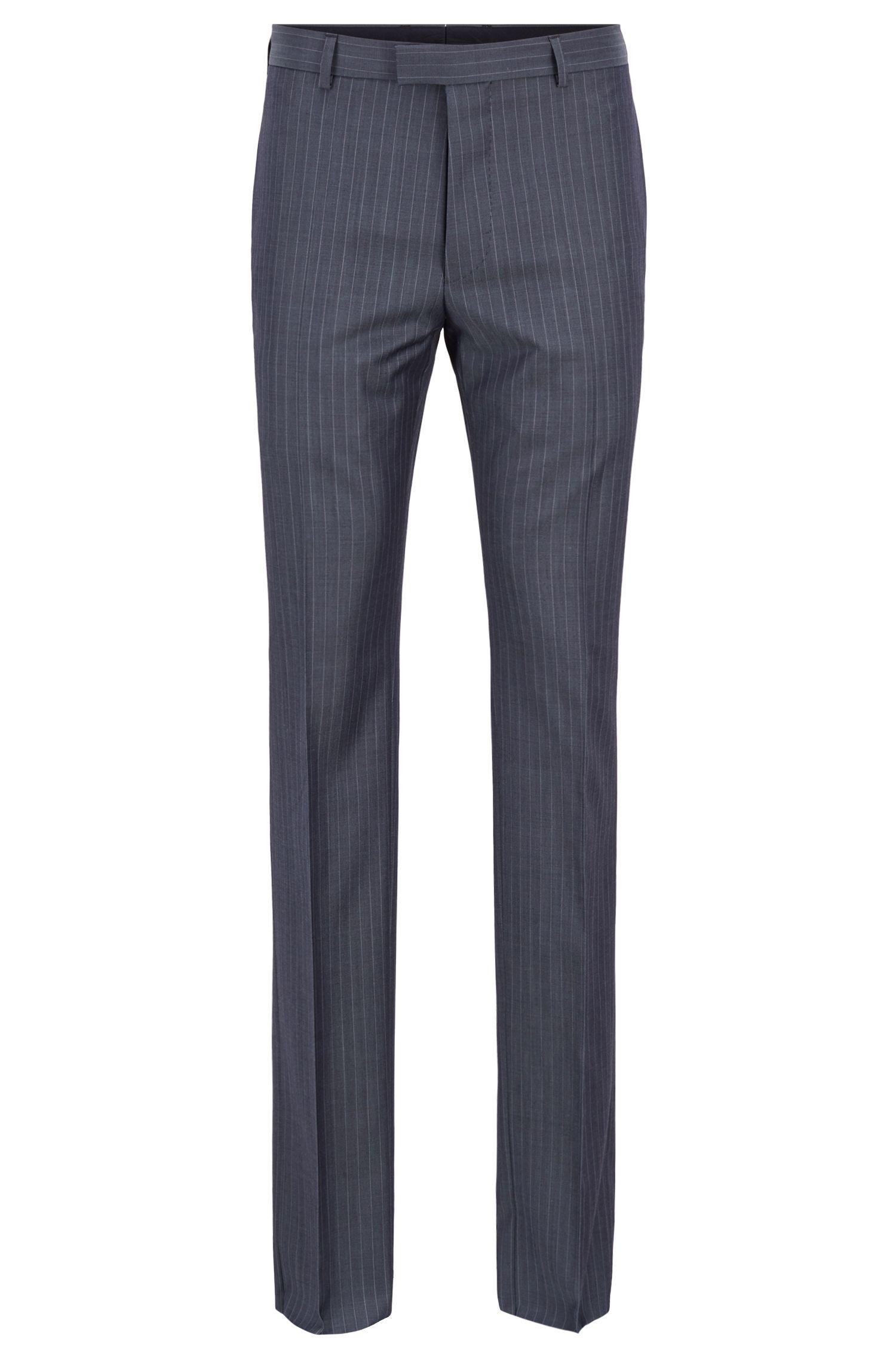 Regular-fit suit in striped virgin wool, Open Blue