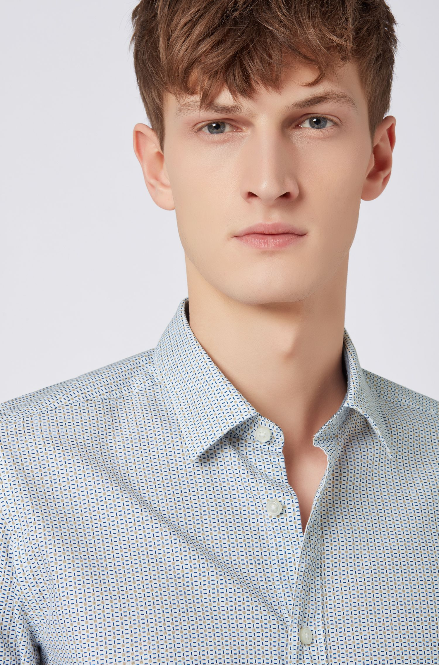 Regular-fit shirt in geometric-print cotton, Light Beige