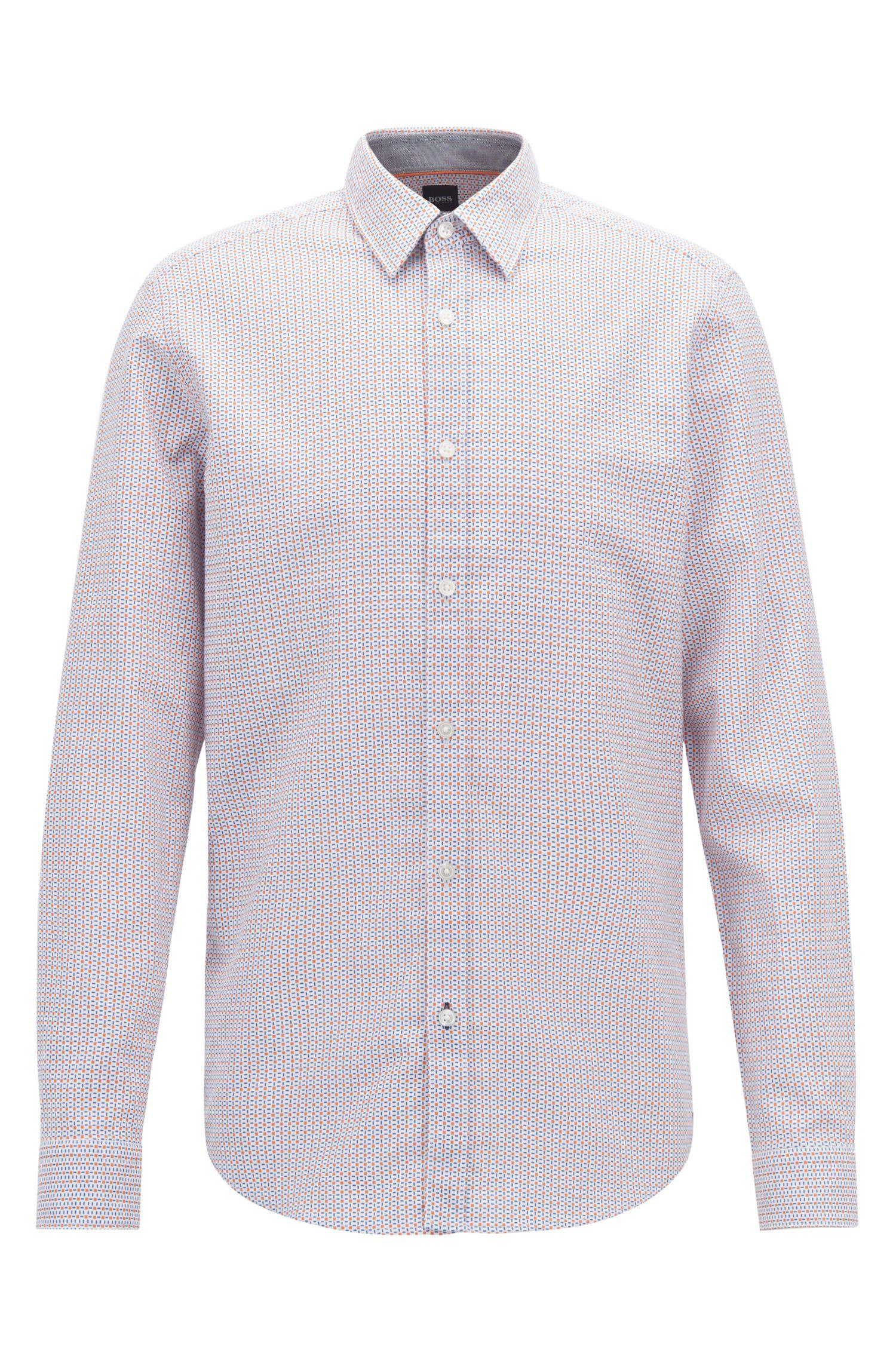 Regular-fit shirt in geometric-print cotton, Orange