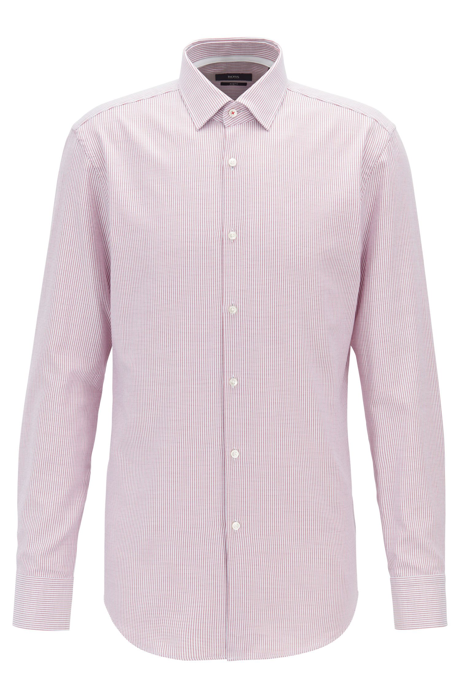 Slim-fit shirt in micro-patterned cotton twill, Dark pink