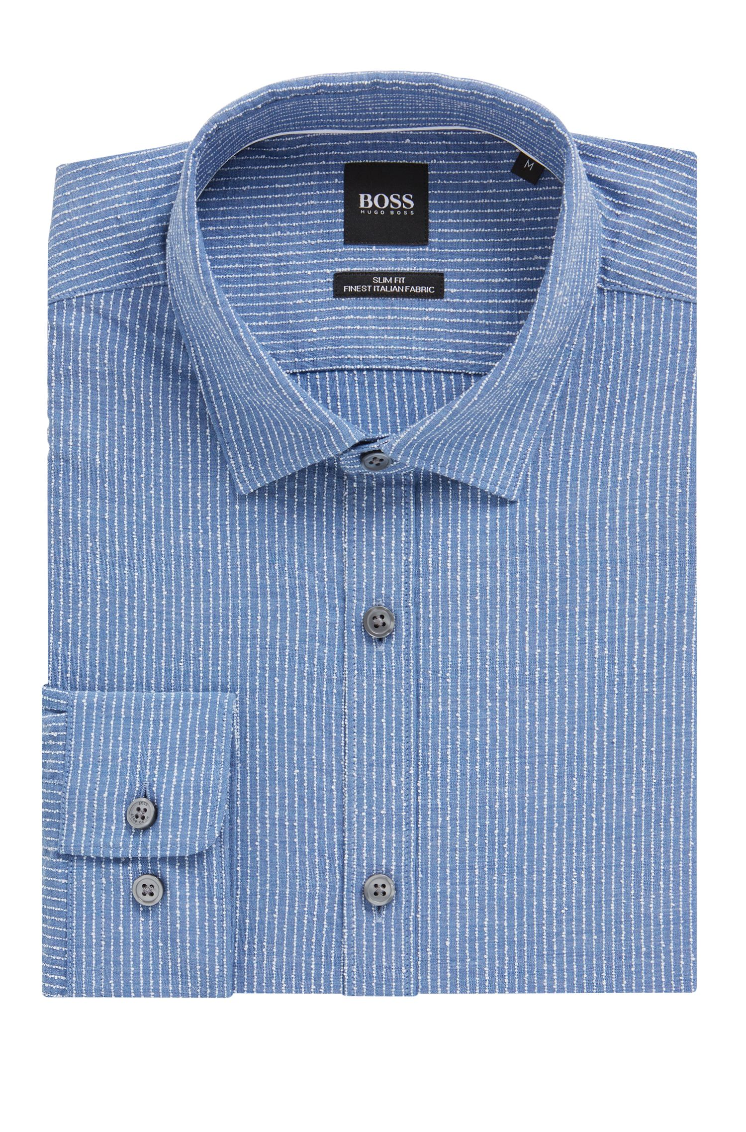 Slim-fit shirt in an Italian cotton blend, Open Blue