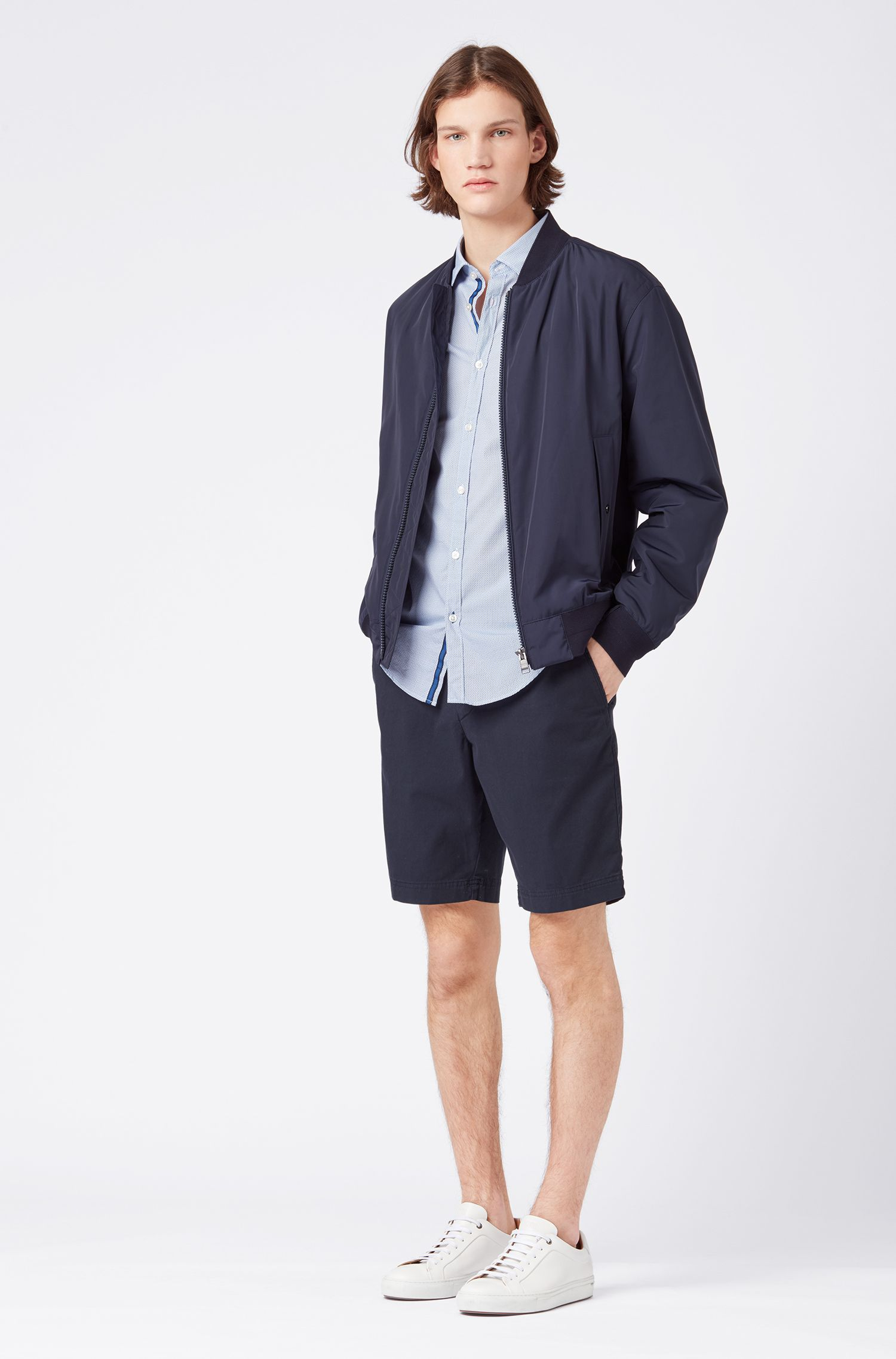 Slim-fit shirt in micro-patterned cotton poplin, Light Blue