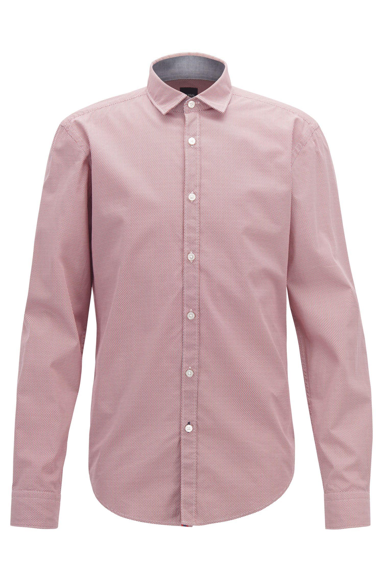 Slim-fit shirt in micro-patterned cotton poplin, Open Blue