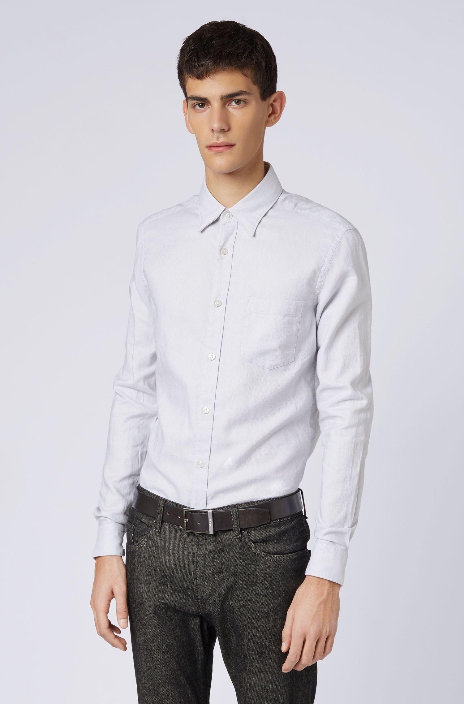 Slim-fit shirt in a cotton-linen blend , Open Grey