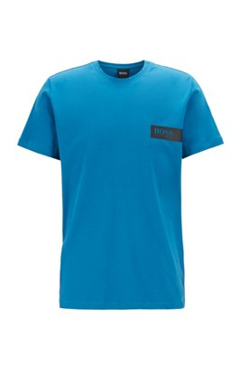 Relaxed-fit underwear T-shirt with chest logo, Turquoise