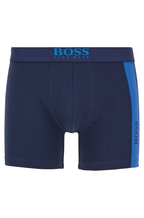 Stretch-cotton boxer briefs with vertical logo print, Dark Blue