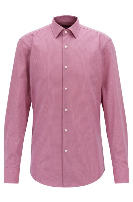 0dcb8a2a2 BOSS - Slim-fit shirt in two-tone structured cotton