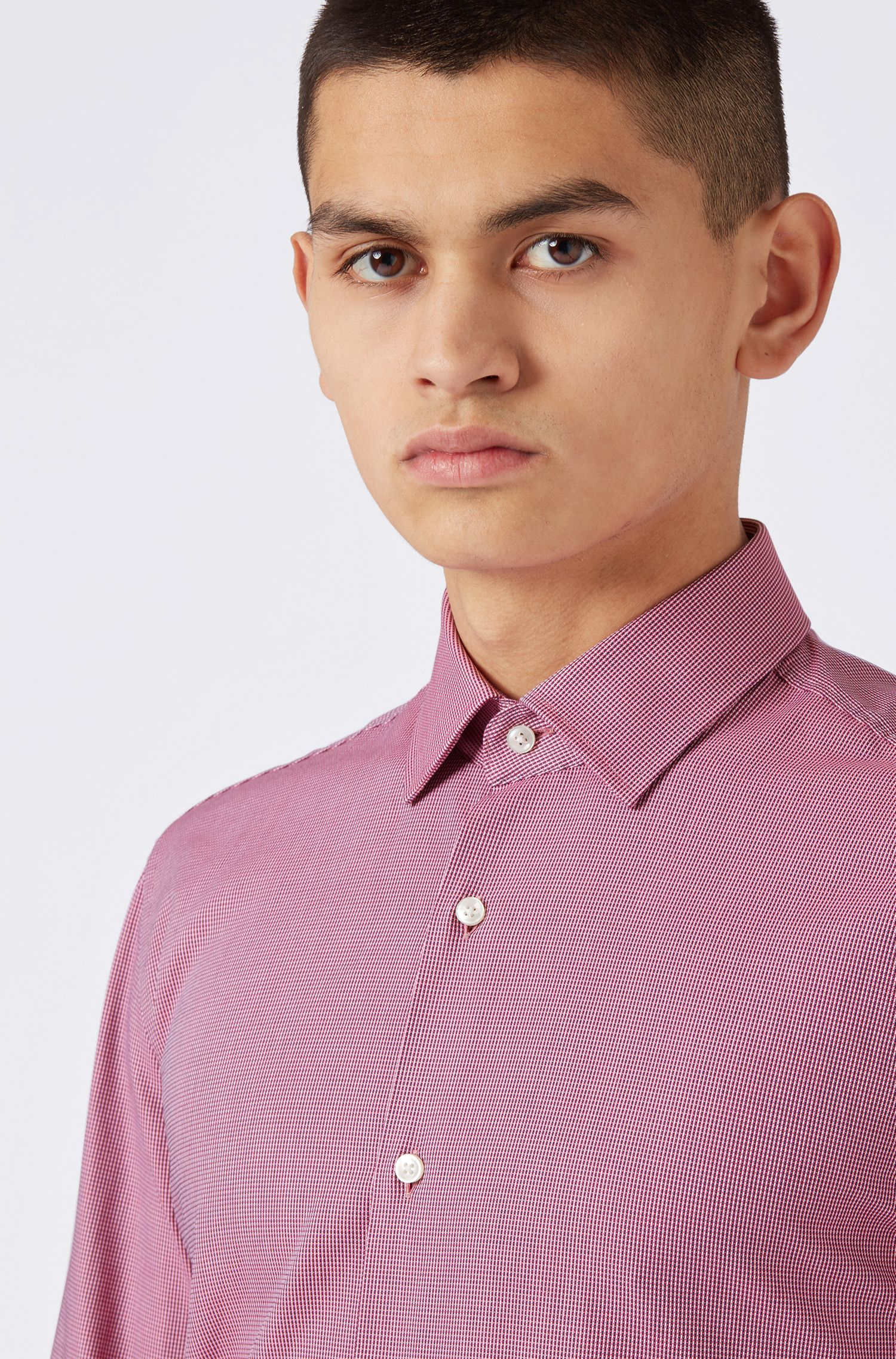 Slim-fit shirt in two-tone structured cotton, Pink