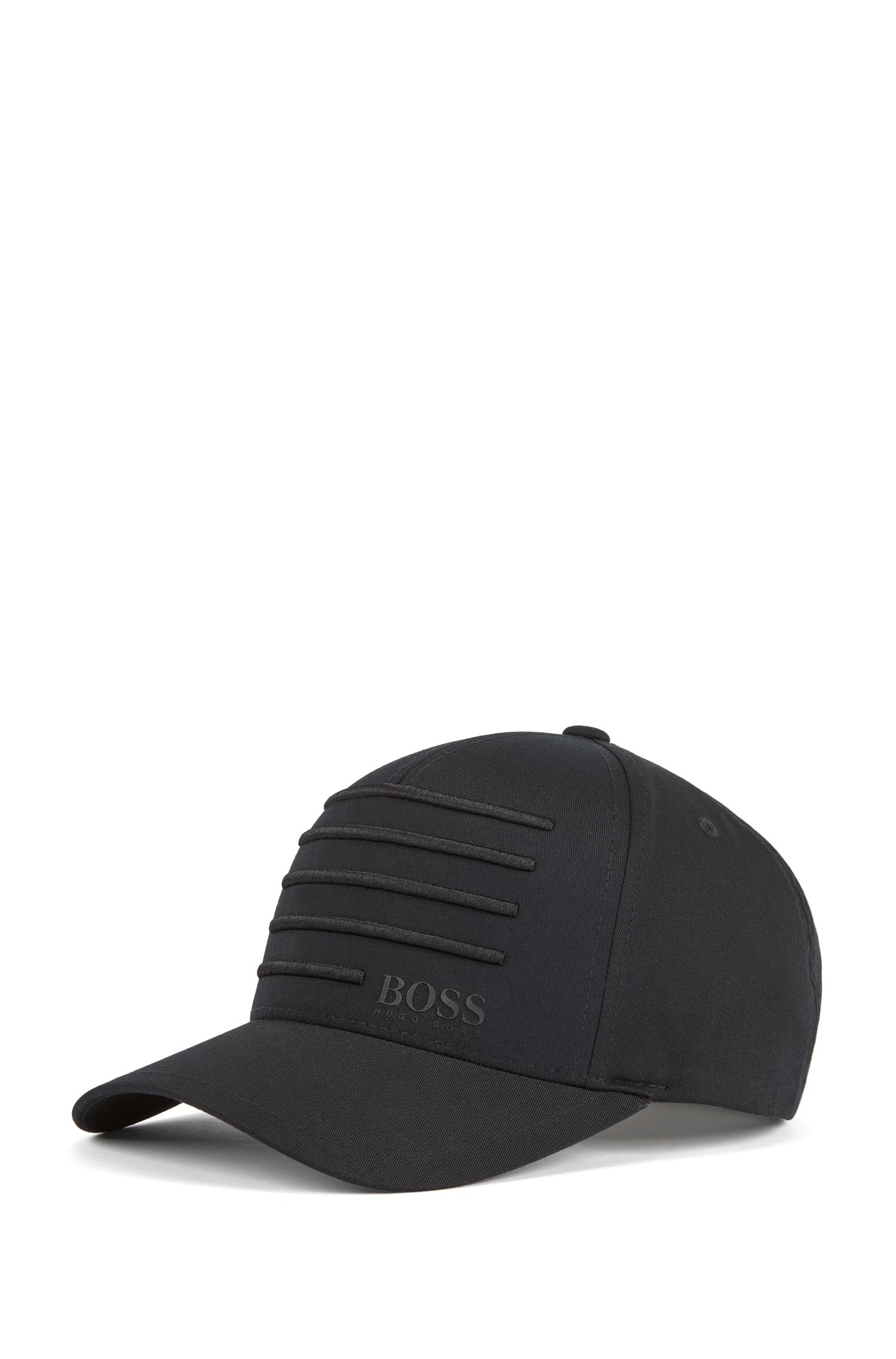 Cap with 3D embroidered stripes, Black
