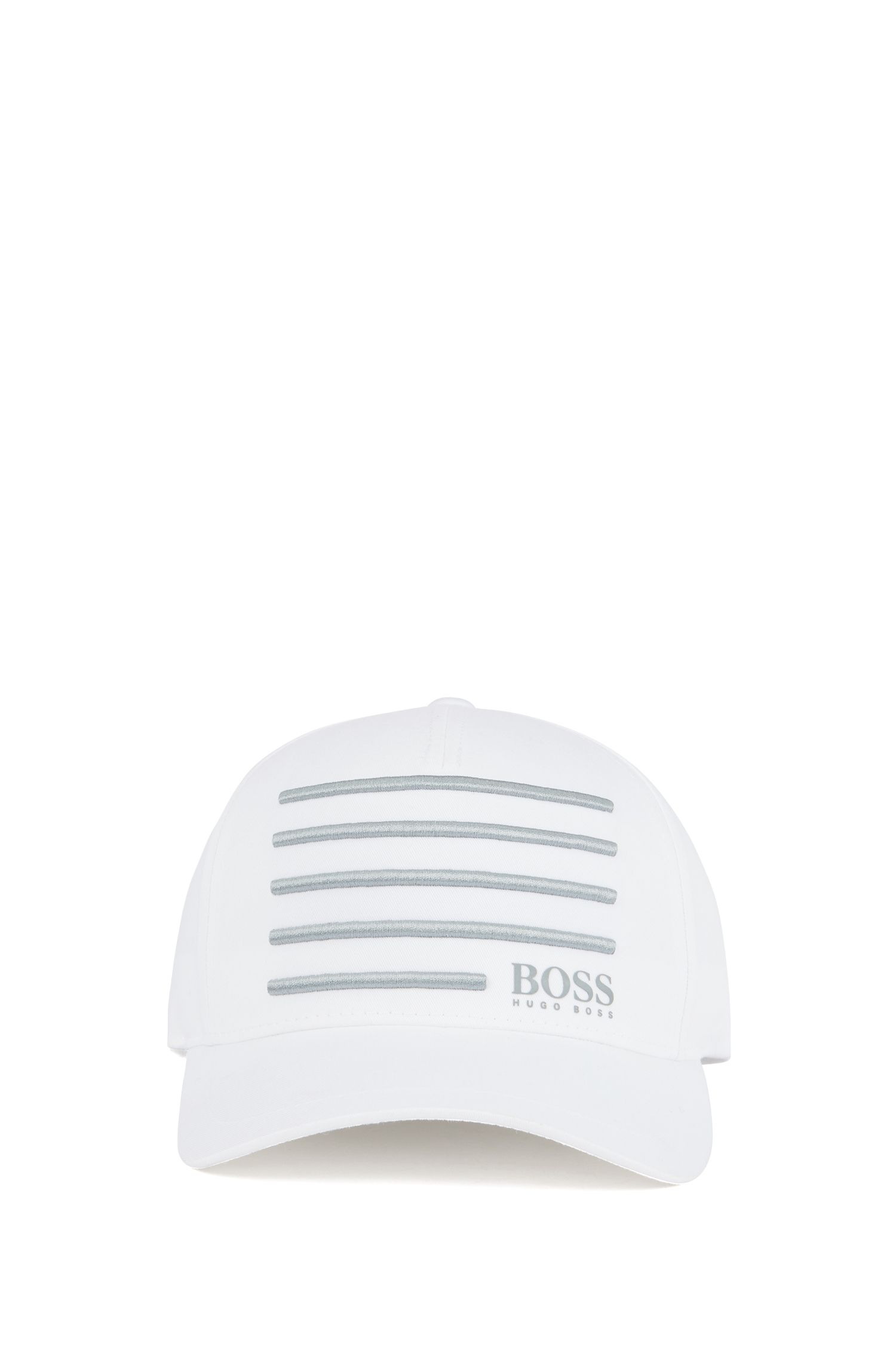 Cap with 3D embroidered stripes, White