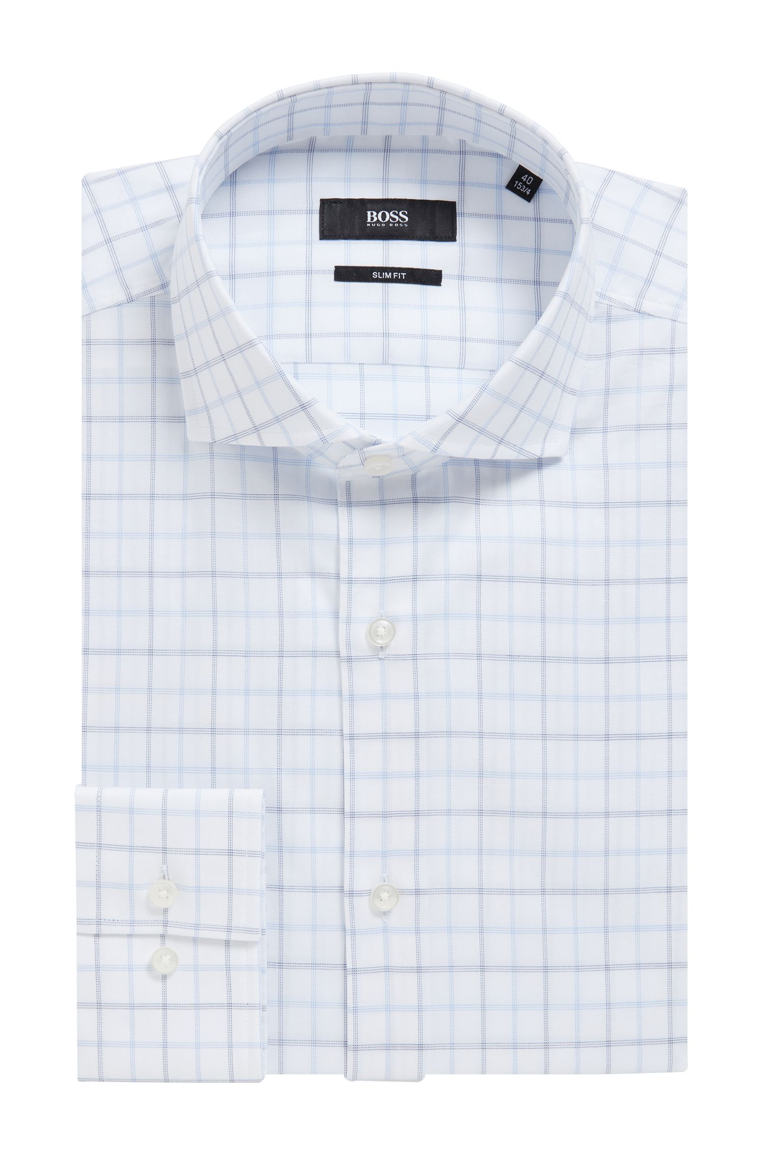 Slim-fit shirt in cotton twill with check pattern, Blue