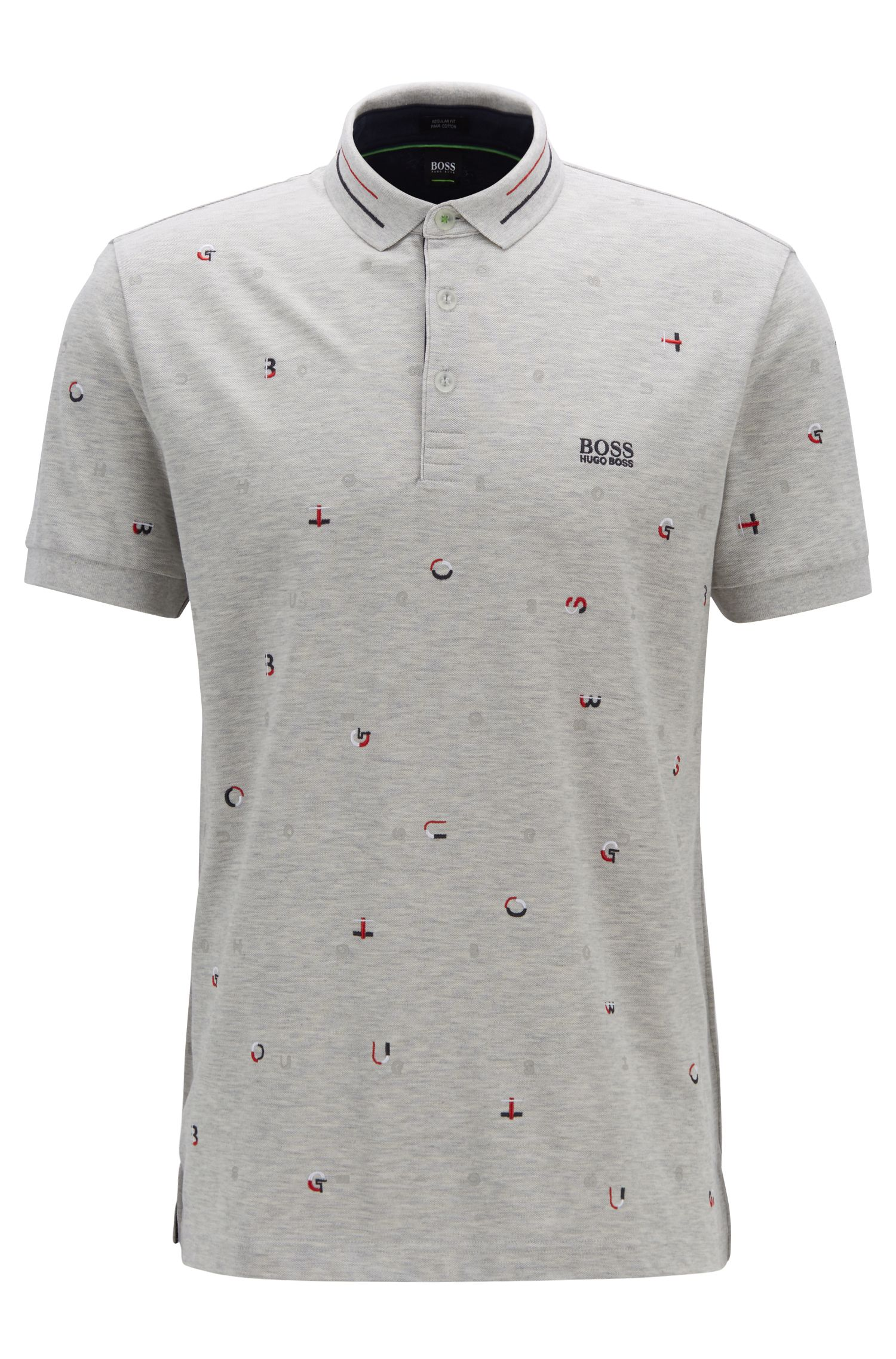Regular-fit polo shirt in cotton-piqué , Light Grey