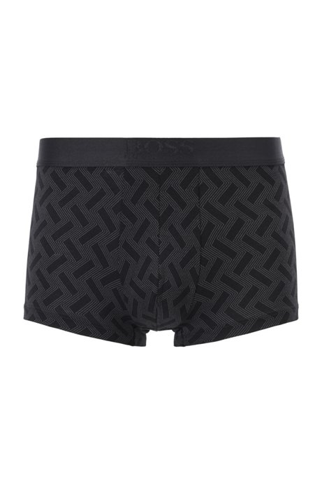 Square-cut printed trunks with logo waistband, Black
