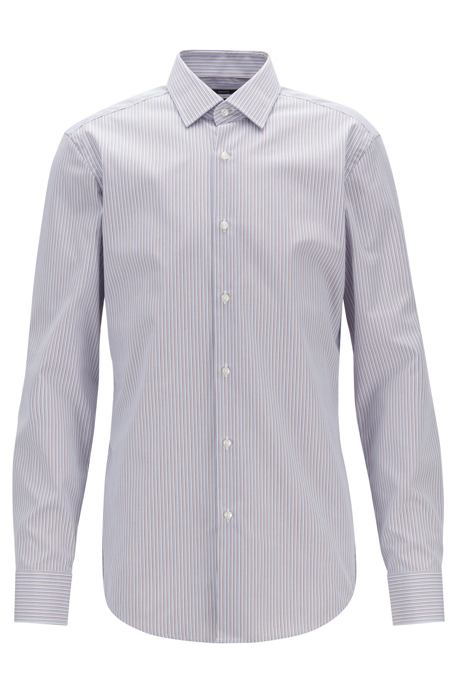 Slim-fit shirt in two-tone striped cotton, Brown