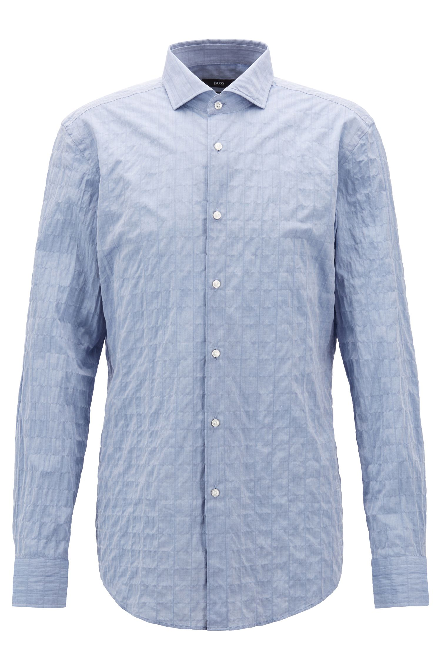 Slim-fit shirt in Italian cotton seersucker, Open Blue