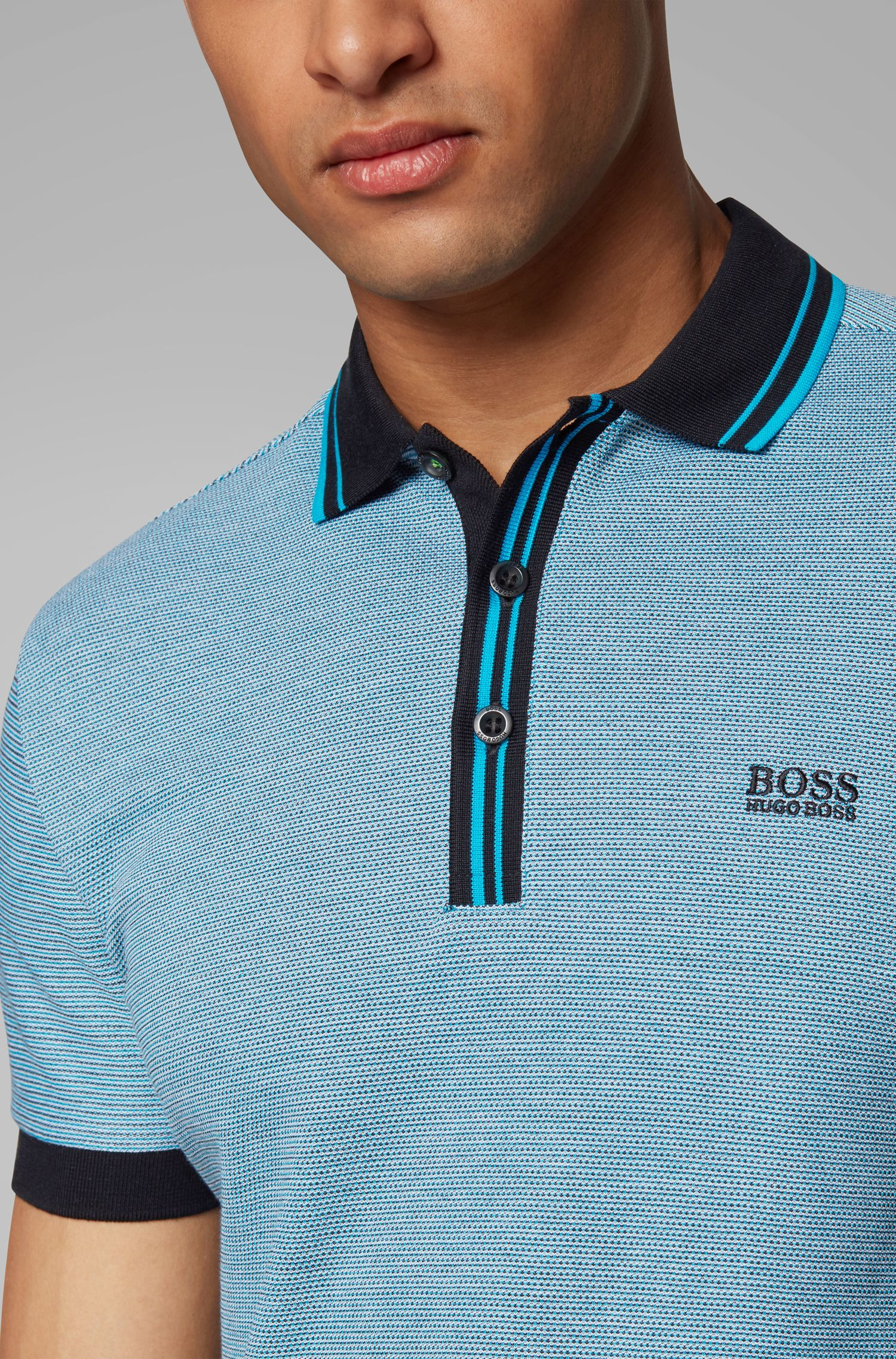 Regular-fit polo shirt with striped collar and placket, Black